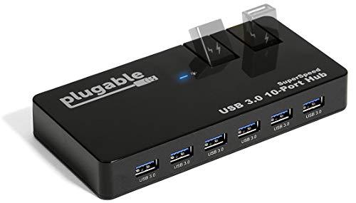 Plugable USB 3.0 10 Port SuperSpeed Hub mit 48W Netzteil...
