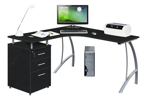hjh OFFICE Computer-Eck-Schreibtisch Castor buche Silber mit...