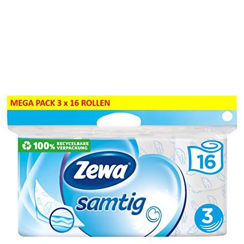 Zewa samtig Toilettenpapier, extra sanftes WC-Papier 3-lagig...