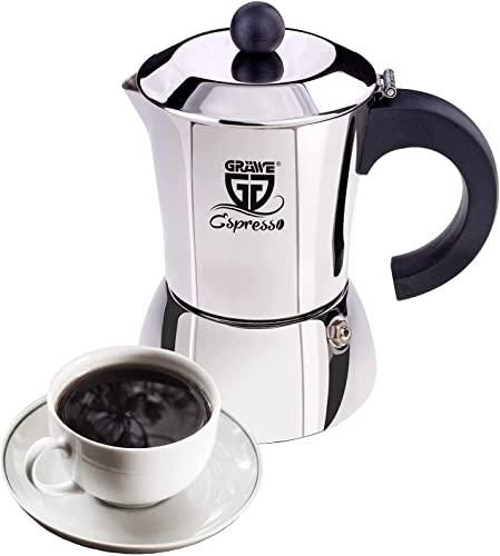 GRÄWE Espressokocher Induktion geeignet, Espressokanne aus...