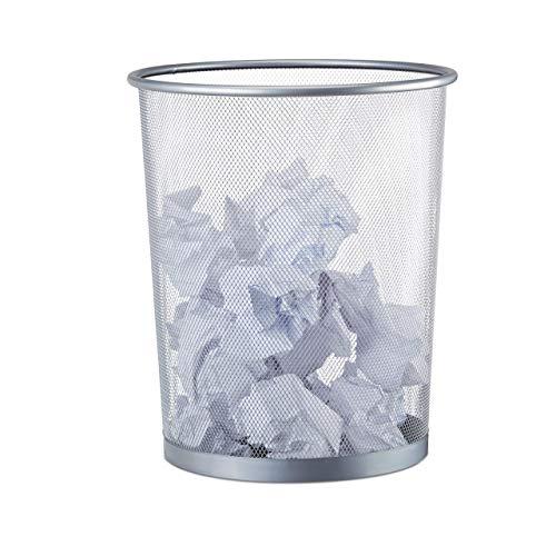 Relaxdays Papierkorb Metall, großer Papiereimer fürs...