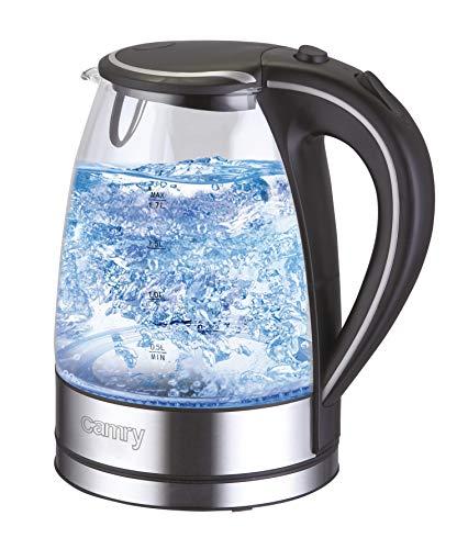 Wasserkocher Edelstahl Glas 1,7 Liter|2000W| blaue LED...