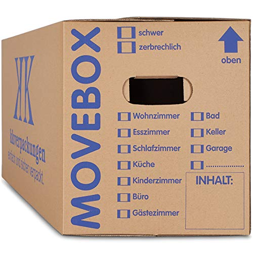 25 x UMZUGSKARTONS ZWEIWELLIG - 634 x 290 x 326 mm - MOVEBOX...