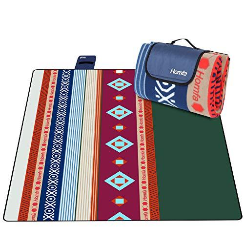 Homfa 200 x 200 cm Picknickdecke XXL Stranddecke aus Fleece...